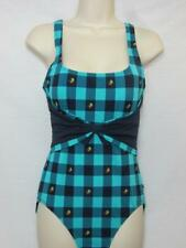 NWT Tommy Hilfiger 1 Piece Maillot Swimsuit Green & Blue Tie Back Size 10