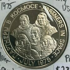Franklin Mint Sterling Silver Partners in Space - USSR and USA Medal
