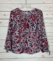 Lucky Brand Women's Sz S Small Burgundy Navy Floral Long Sleeve Top Blouse Shirt