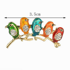 Elegant Colorful 5 Birds Brooches Crystal Brooches Pins for Women Lady Gift *