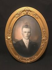 Vintage Gold Convex Picture Frame With Handsome Young Man