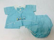 Vintage Baby Outfit Newborn 3 Months Shirt Plastic Pants Clothing Blue Train