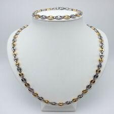 collier  et bracelet  homme graine café  en acier inoxydable argenté et doré