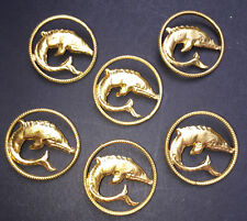 6 BIG 2.3cm Vintage Metal Dolphin Buttons