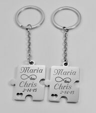 PERSONALIZED SILVER STAINLESS STEEL PUZZLE PIECE KEY CHAIN SET  ENGRAVED FREE