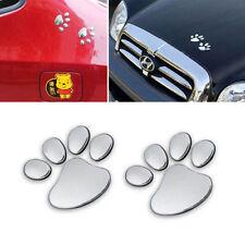 1Pair Fashion Silver Paw Pet Animal Footprints Emblem Car Truck Decor 3D Sticker