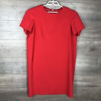 Jones New York Women's Size 16 Short Sleeve Shift Dress Solid Red Pockets