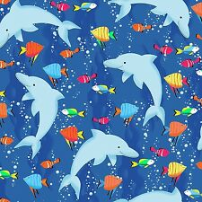 Fabric Dolphins Swimming on Blue Flannel  by the 1/4 yard BIN