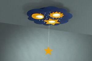 Moon & Stars Children's Flush Ceiling Light With Pull Chord For Kids Bedroom