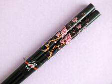 JAPANESE WOMEN PINK CHERRY BLOSSOM BLACK CHOPSTICKS HAIR STICK CHINESE PARTY