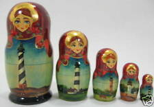 "Russian 6"" Nesting Matryoshka Doll North Carolina Lighthouse 5 Pc Choice of 1~"