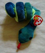 Ty Beanie Baby 1997 HISSY the Blue Green SNAKE MINT condition PVC