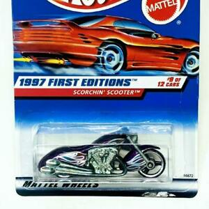 1997 Hot Wheels First Editions 9/12 Scorchin' Scooter Purple #519 New Red Card