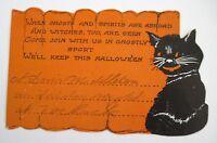 "Vintage ""Halloween"" Party Invitation w/ Cute Black Cat- Used  *"