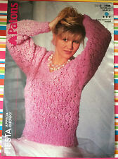 Lacy V Neck Long Sleeve Sweater - Chunky Knitting Pattern - Patons 3109 original