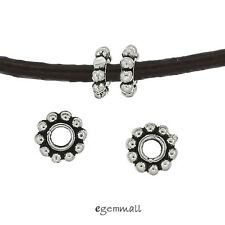 6 Antiqued Sterling Silver Daisy Rondelle Spacer Beads 6mm (Hole 2.1mm) #99064
