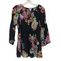 Spense Womens sz Small Black Pink Floral Long Bell Sleeve Accordion Pleated Top