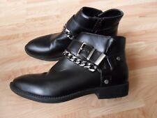 Ladies ankle boots size 6 black faux leather zipped
