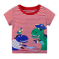 Boys T-Shirt Red Stripe Age 18 24 Mths 2 3 4  Yrs Kids T-shirts Top Clothes UK