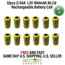 12 pcs 2/3AA 2/3 AA 400mAh NiCd Ni-Cad 1.2V Rechargeable Battery Cell US Stock
