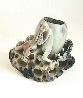Scultura vintage cinese in pietra saponaria finemente intagliata Arte orientale