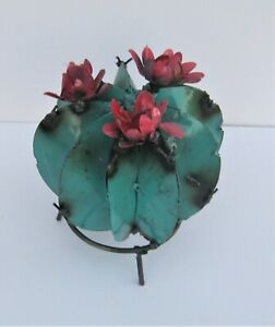 "SMALL METAL ART BARREL CACTUS SCULPTURE WITH FLOWERS 6"" DIAMETER TEAL"