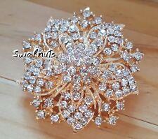Gold tone Starburst Flower Brooch Pin Rhinestone Diamante Crystal Gem