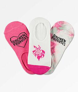 NWT Broken Promises Women's Heart Throb 3-Pack No Show Socks