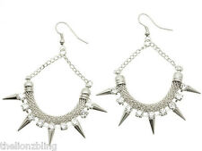 Punk Hip Hop Earrings Silver Crescent Hoops Metal Spikes & Crystal Bling
