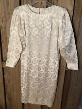 Blake Petite Womens Dress 10P White Floral Wedding Formal Long Sleeve VTG 80s