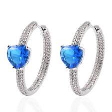 Silvertone Valentine Heart White Cubic Zirconia CZ Hoops Hoop Earrings Gift Ct 3