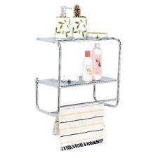 Wall Mounted 2 Tier Hanging Towel Rail Rack Storage Shelf Bathroom Organizer New