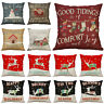 Christmas Pillow Case Elk Cotton Linen Sofa Car Throw Cushion Cover Home Decor