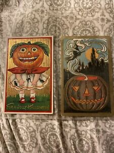 2 Vintage Halloween Postcards JOL Girl And Witch And Gold Jack O Lantern