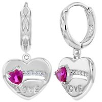 925 Sterling Silver Fuchsia Pink Heart Love Small Hoop Dangle Earrings for Girls