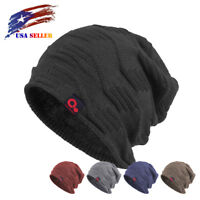 Fall Winter Baggy Slouch Beanie Large Size Knit Hat Fur Lined Stocking Skull Cap