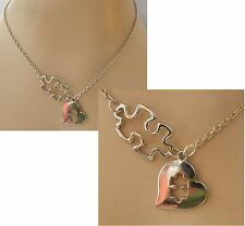 Autism Awareness Heart Pendant Necklace W/ Puzzle Piece Jewelry Handmade NEW