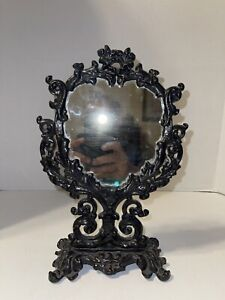 Rare Vintage Iron AR5, JM5, Victorian Swivel Vanity Mirror. TR46