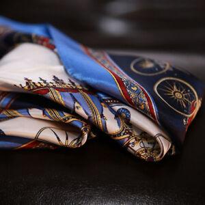 "Women's 100% Pure Silk Blue Square Scarf Neck Small Office Kerchief 21""*21"""