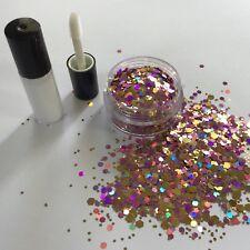 Festival cara/cuerpo/pelo KIT-4ml Pegamento + Champagne Rosa Holográfico Purpurina Pote De 10g