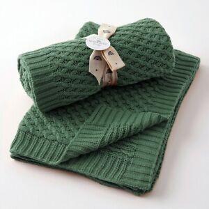 Jiggle & Giggle 100% Cotton Forest Green Basket Weave Knit Baby Blanket