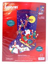 """Santa Over The Rooftops 23"""" Jumbo Felt Stocking Kit 089-0114 Janlynn 2004 New"""
