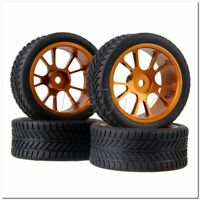 4 x RC1:10 On Road Car Single Oriented Rubber Tyre Gold Alloy 10-Spoke Wheel Rim