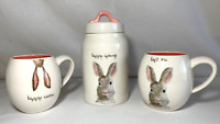 """Rae Dunn Ceramic """"HAPPY SPRING""""  Canister and """"HAPPY EASTER & HOP ON""""  mugs-New"""