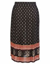 Autograph cheesecloth Black Border Print Gypsy boho skirt + Belt + pockets 14