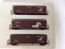 """Set of 3 Con-Cor#3971 N scale """"Conrail"""" box cars"""