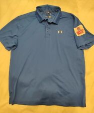 Customised Blue Under Armour Polo Mens XL HeatGear Golf Shirt - Perfect Pizza