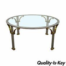 Vintage Mid Century Modern Chrome Brass Coffee Table Jansen Neoclassical Style