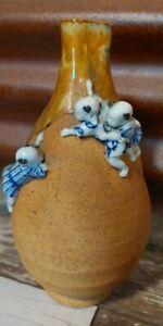 Japanese Art Pottery Sumida Gawa Vase Signed