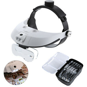 Perfect Headband With 2 LED Light Jeweler Magnifier Magnifying Glass Loupe